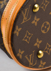 "Brown Louis Vuitton Coated Canvas 'LV' Monogram ""Petit Bucket"" Handbag Detail 2"