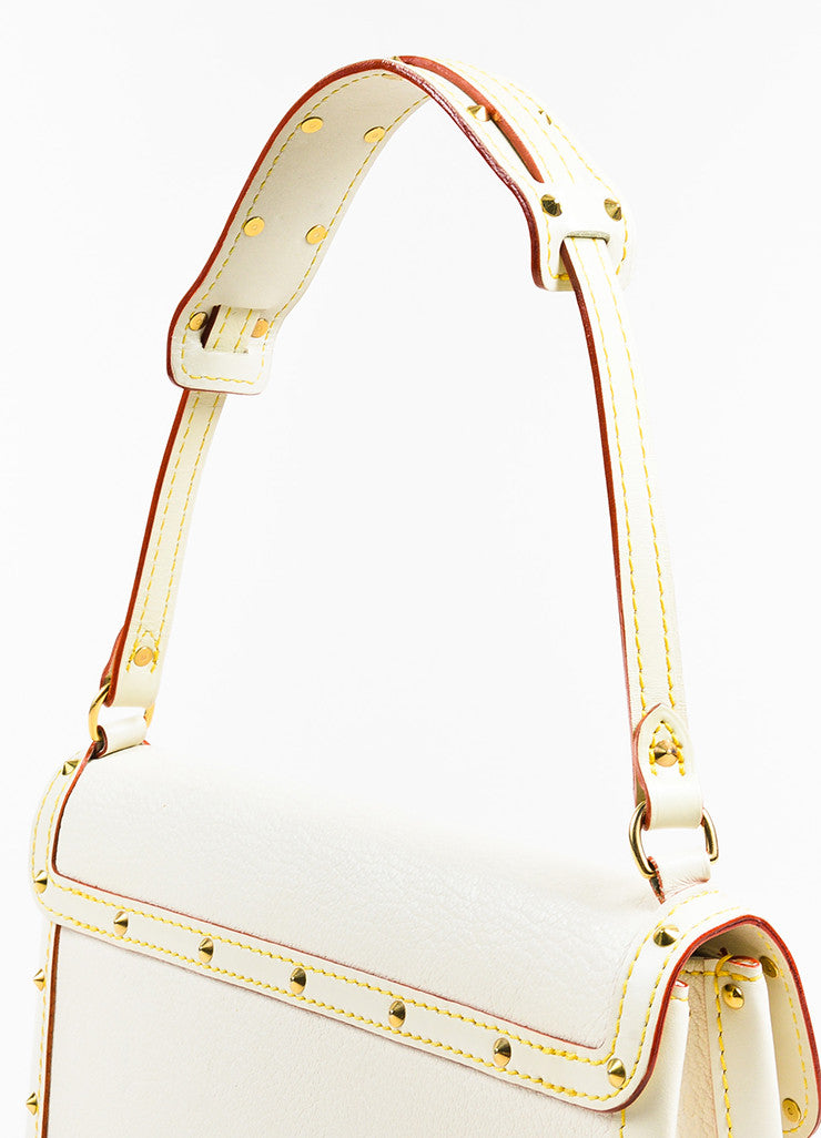 "Louis Vuitton Cream Gold Toned Suhali Leather Studded ""L'Aimable"" Bag Detail 2"