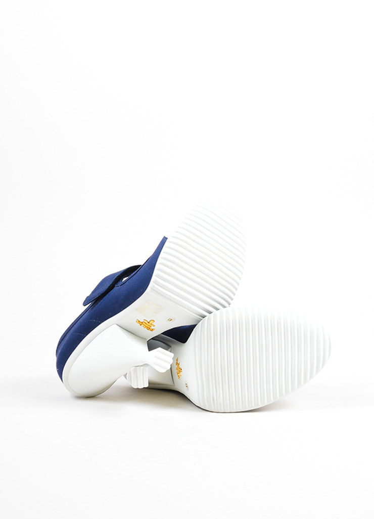 "Prada Blue and White ""Baltico"" Canvas ""Gabardine"" Mary Jane Pumps Outsoles"
