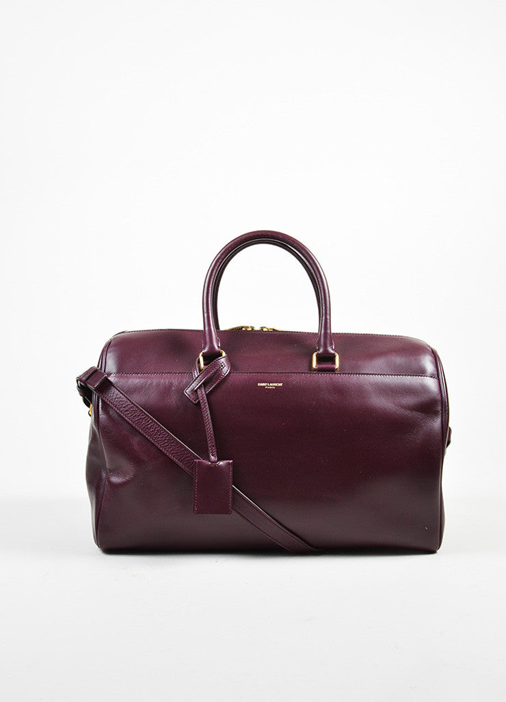 "Burgundy Leather Saint Laurent ""Classic Duffle 12"" Satchel Bag Frontview"