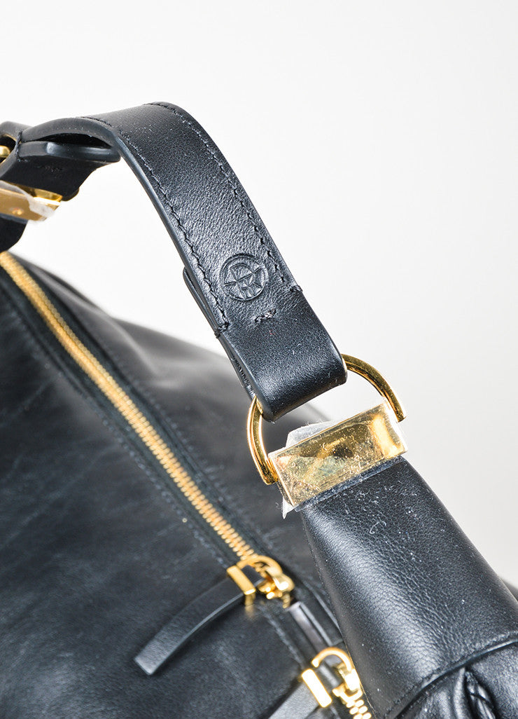 "The Row Black Calfskin Leather Oversized ""Sling 15"" Bag Detail 2"