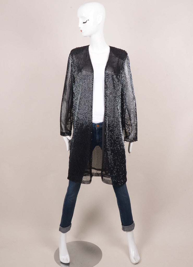 Vintage Navy Sequin Open Front Long Jacket Frontview