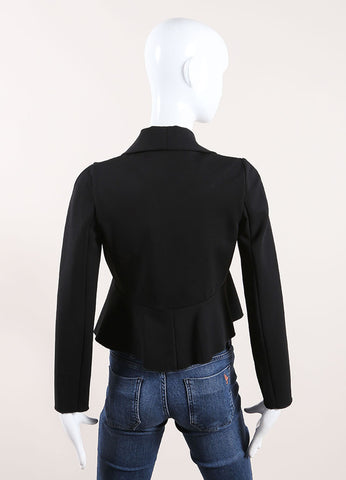 Valentino Black Knit Ruffle Crossover Jacket Back