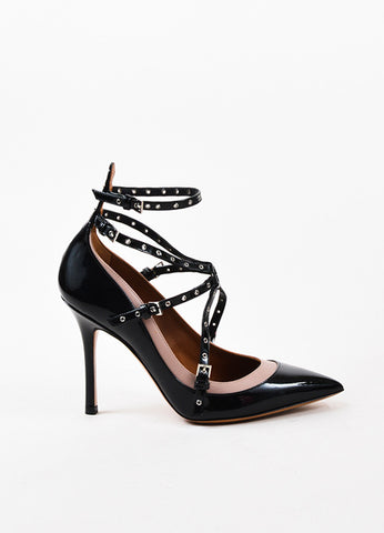 "Valentino Black and Nude Patent Leather Caged ""Love Latch"" Pumps Sideview"
