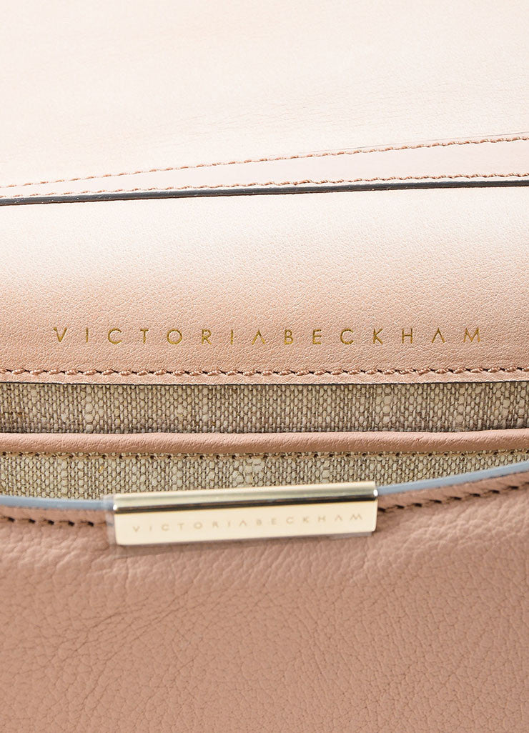 Pink Nude Victoria Beckham Leather Mini Chain Strap Satchel Bag Brand