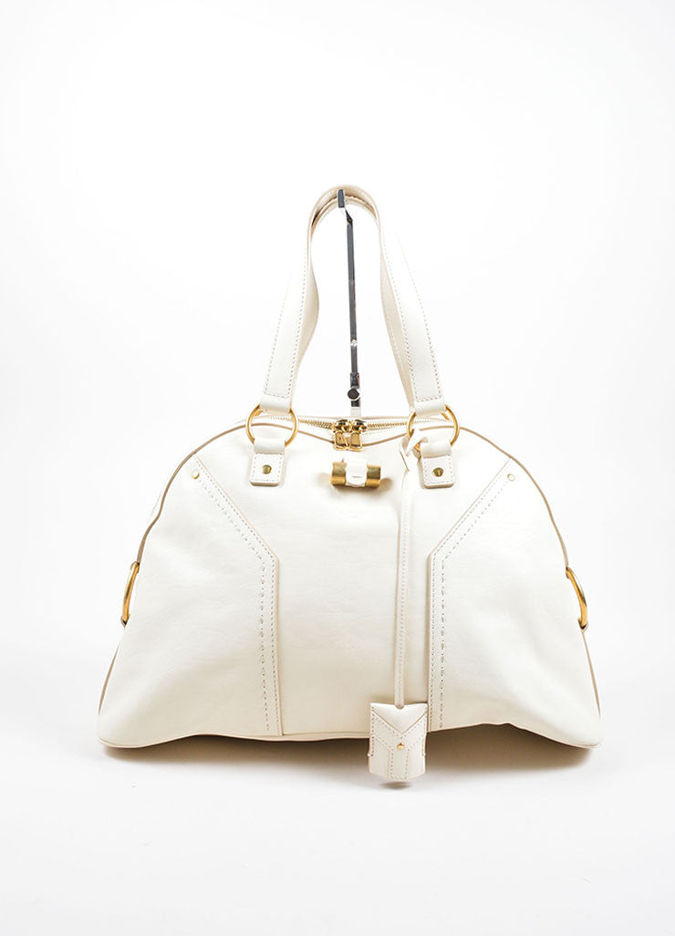 "Yves Saint Laurent Cream ""Muse"" Shoulder Bag Front"