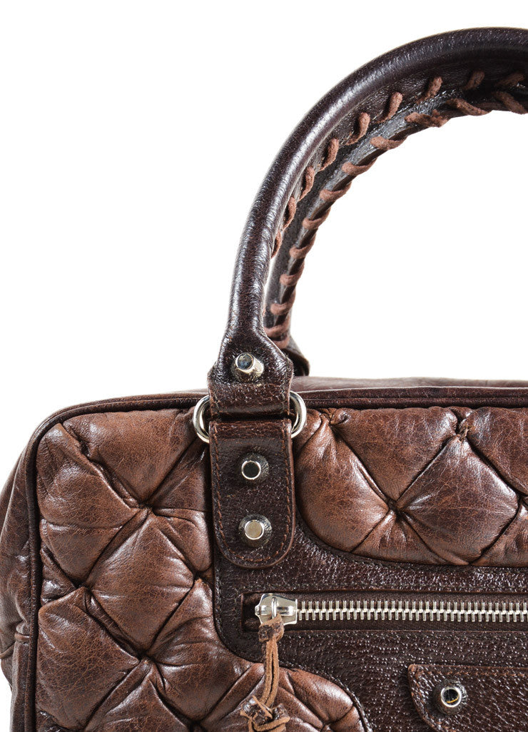"Balenciaga Dark Brown Quilted Leather ""Matelasse"" Satchel Bag Detail 2"