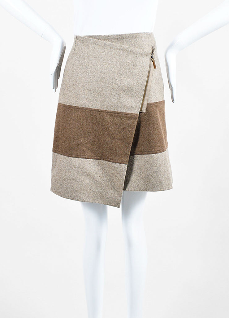 Beige and Brown Brunello Cucinelli Wool Striped Asymmetrical Zip Wrap Skirt Frontview