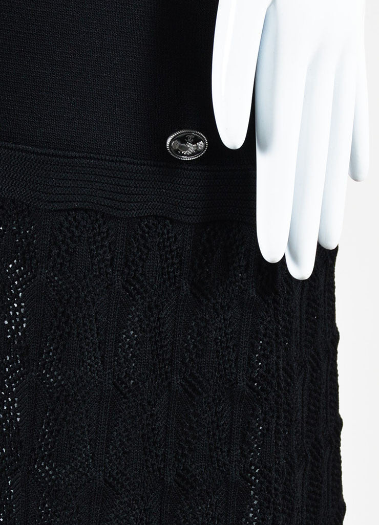 Black Chanel Rib Knit Crochet Shoulder Cut Out Short Sleeve Dress Detail