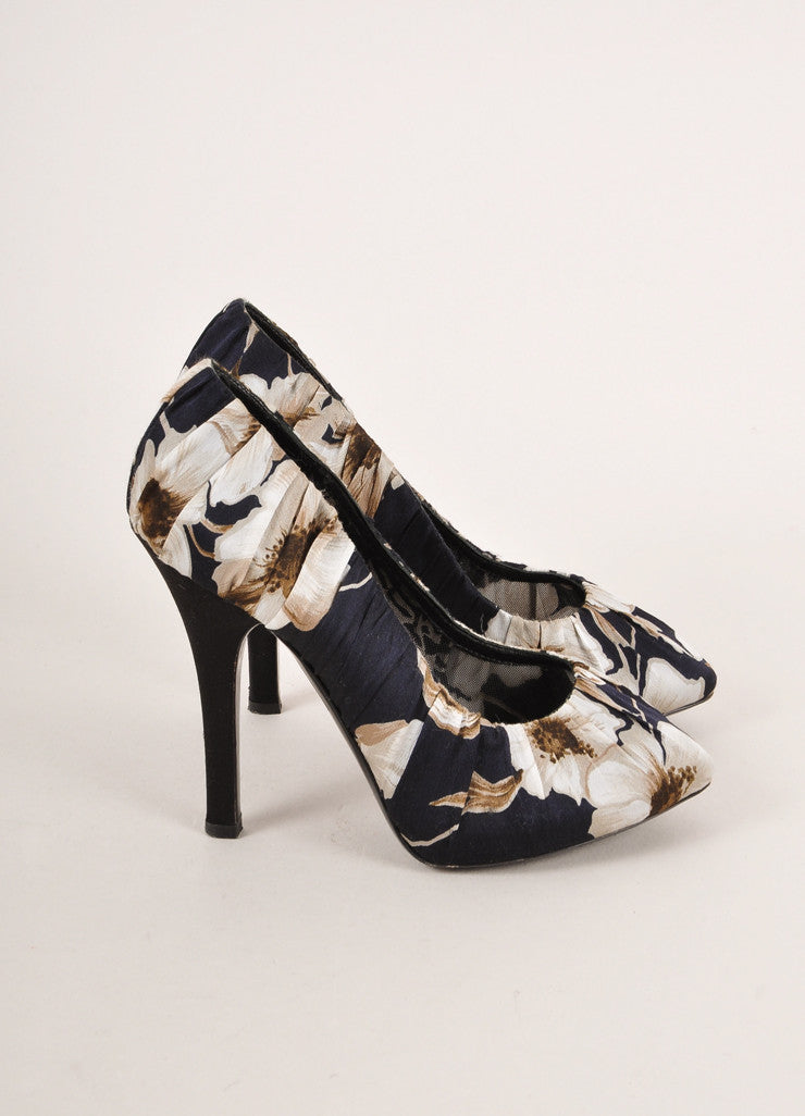 Dolce & Gabbana Black and Grey Floral Print Ruched Satin Pointed Toe Pumps Sideview