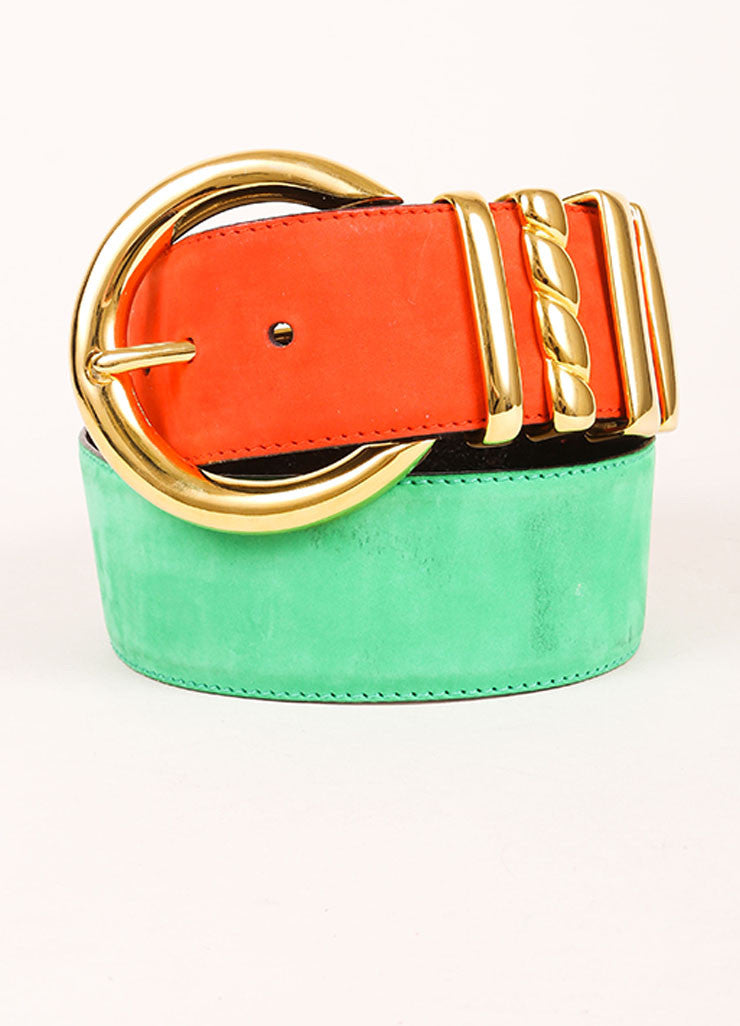 Escada Orange, Green, and Gold Toned Suede Oversized Buckle Belt Frontview