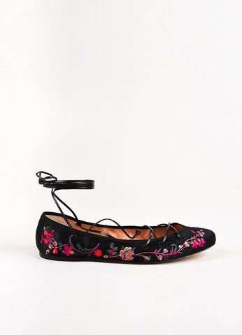 Etro Black Satin Floral Embroidered Lace Up Ballerina Flats Sideview