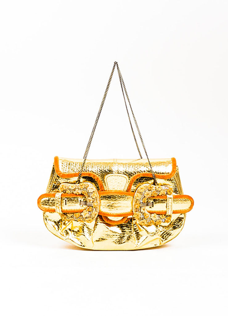 "Metallic Gold Fendi Snakeskin Leather and Velvet Floral Buckle ""Mini B"" Clutch Bag Frontview"