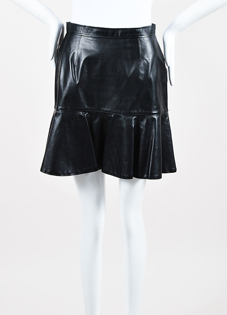 Givenchy Black Lambskin Leather Fit Flare Back Zip Mini Skirt Front
