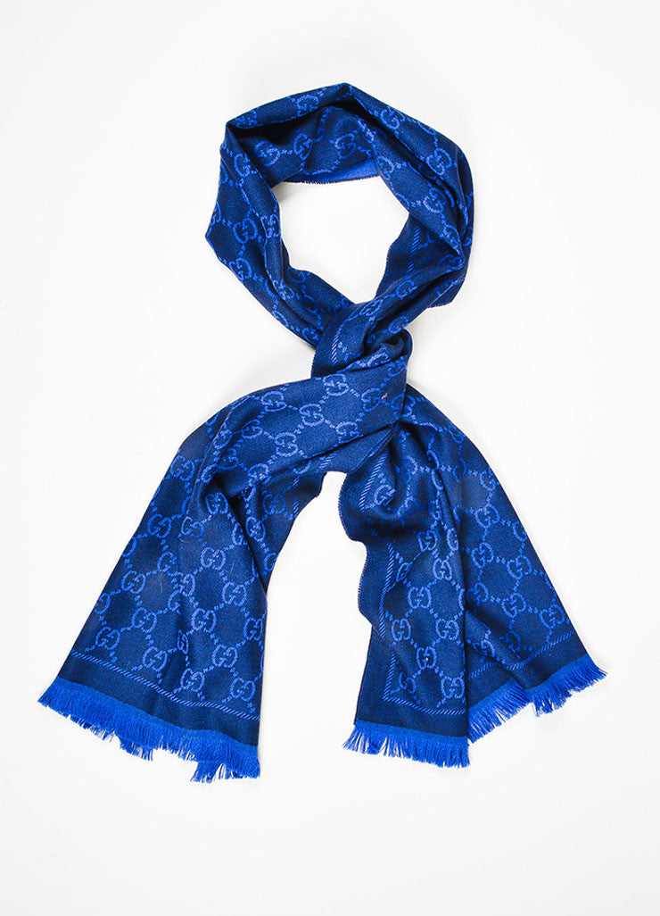 Royal Blue and Black Gucci Wool Monogram Fringe Trimmed Long Wrap Scarf Frontview