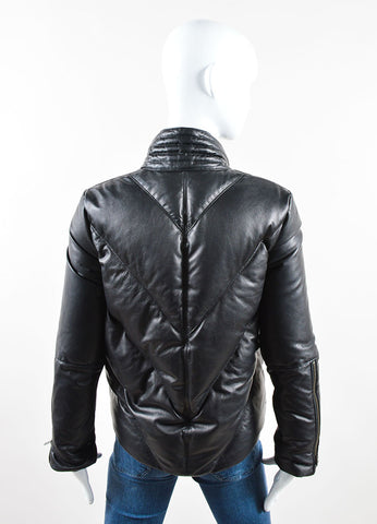 Helmut Lang Black Leather Down Zip Moto Short Puffer Coat Backview