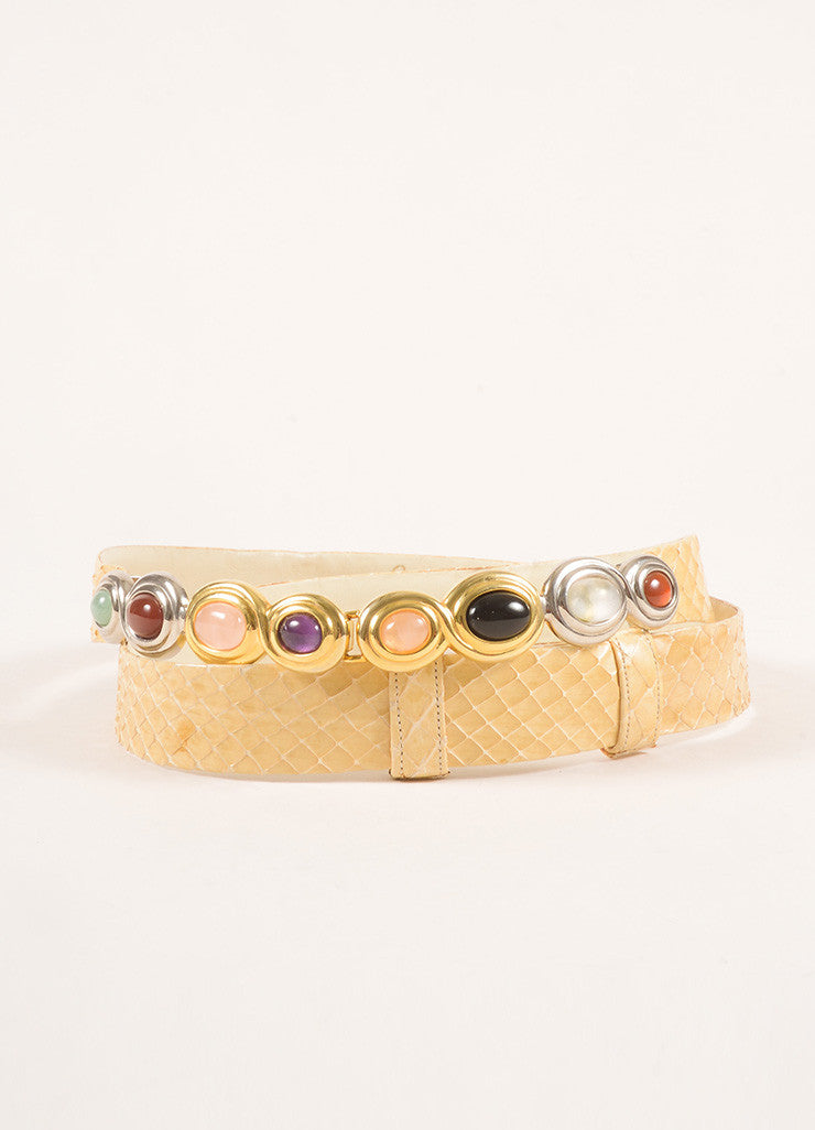 Judith Leiber Tan Leather Snakeskin Stone Embellished Belt Frontview