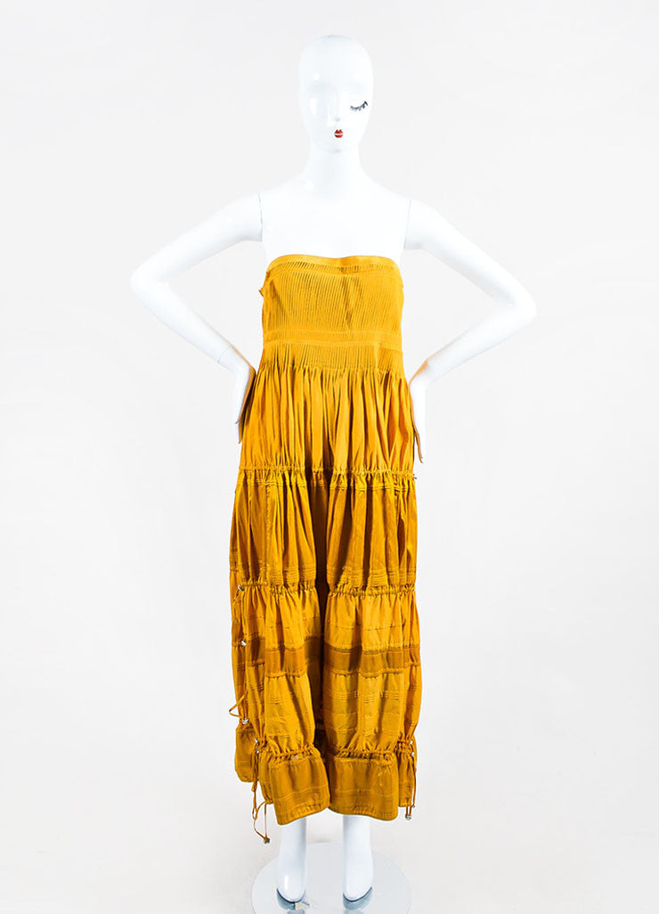 Mustard Yellow KaufmanFranco Cotton Leather Trim Tiered Strapless Dress Frontview