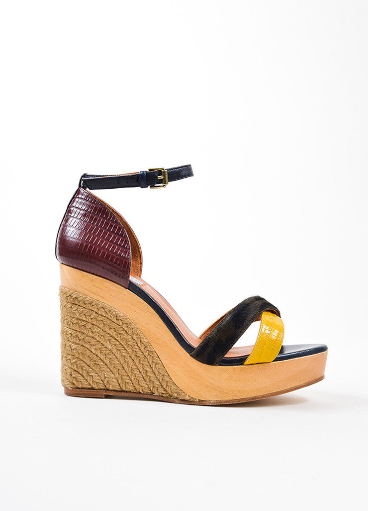 Black, Red, and Yellow Lanvin Pony Hair Lizard Wood Espadrille Sandals Sideview