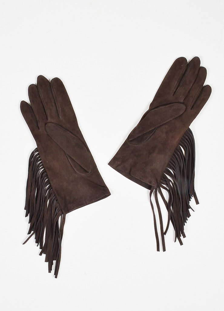 Brown Lanvin Suede Leather Fringe Trimmed Short Gloves Backview