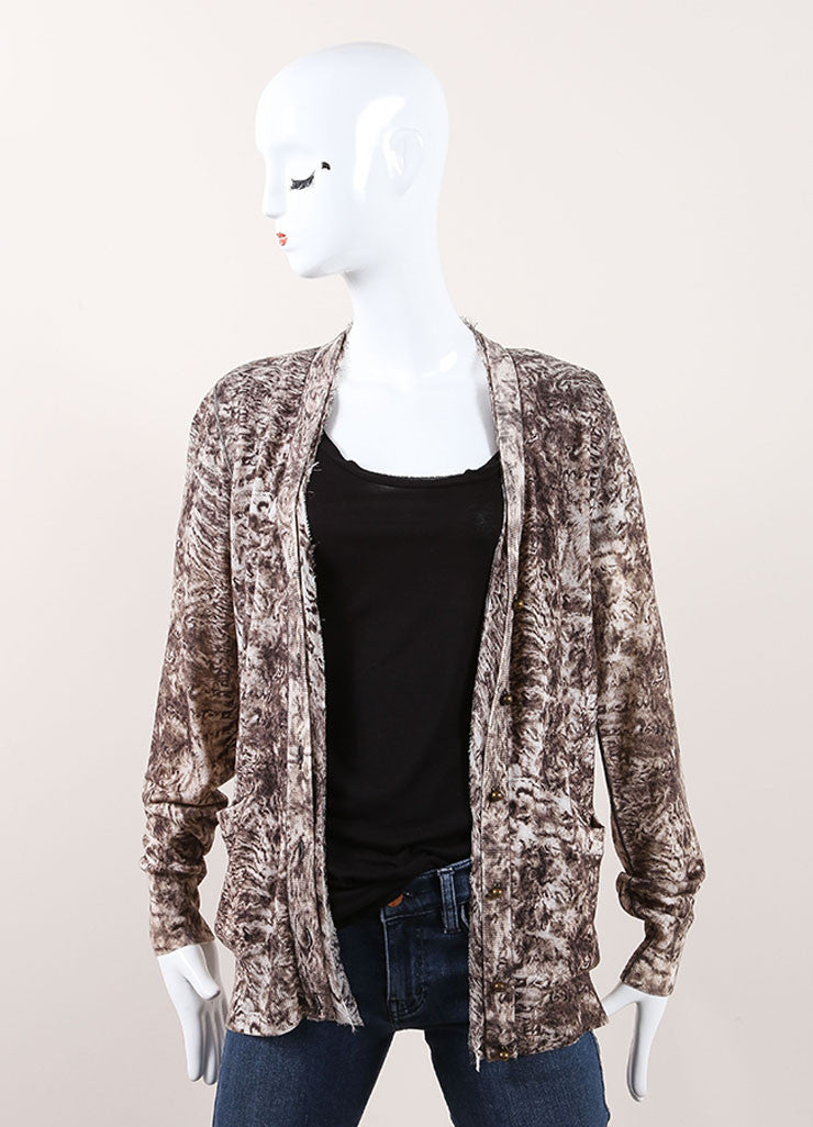 Oscar de la Renta New With Tags Cream and Brown Wool Silk Trim Printed Cardigan Frontview