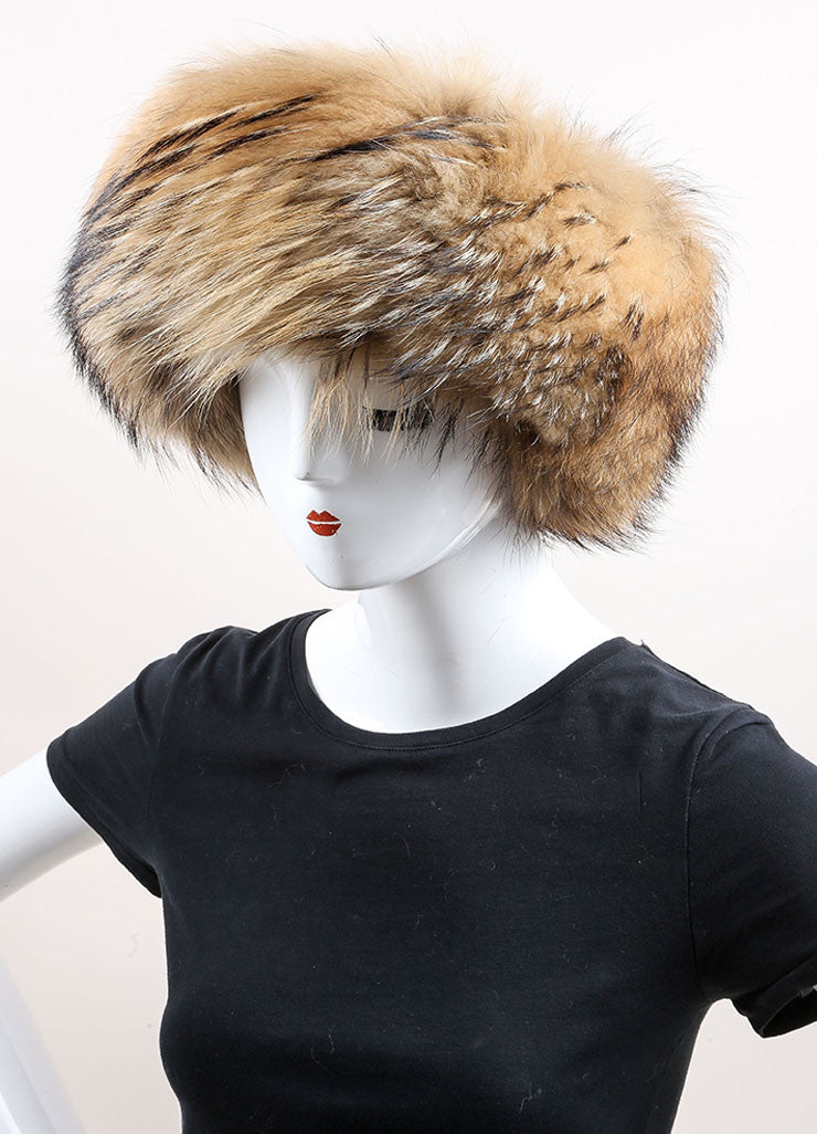 Prada Brown and Black Raccoon Fur, Wool, and Cashmere Knit Cossak Cappello Hat Sideview