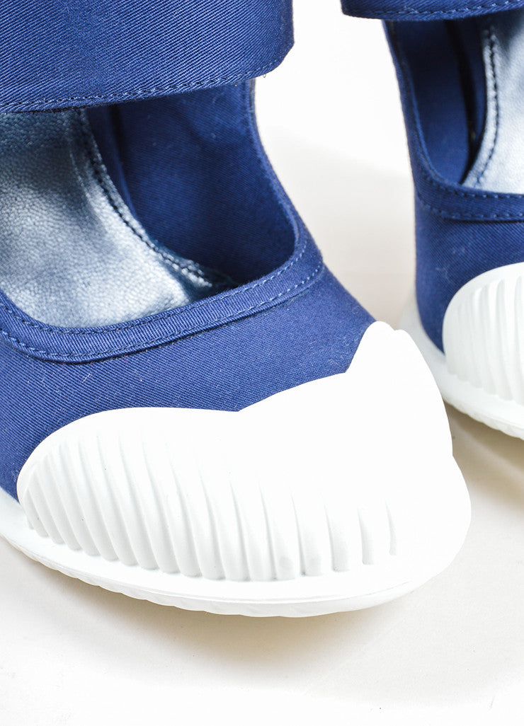 "Prada Blue and White ""Baltico"" Canvas ""Gabardine"" Mary Jane Pumps Detail"