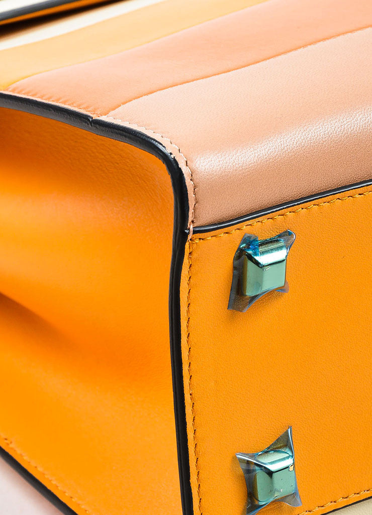"Valentino Garavani Orange Leather Striped ""My Rockstud"" Satchel Bag Detail"