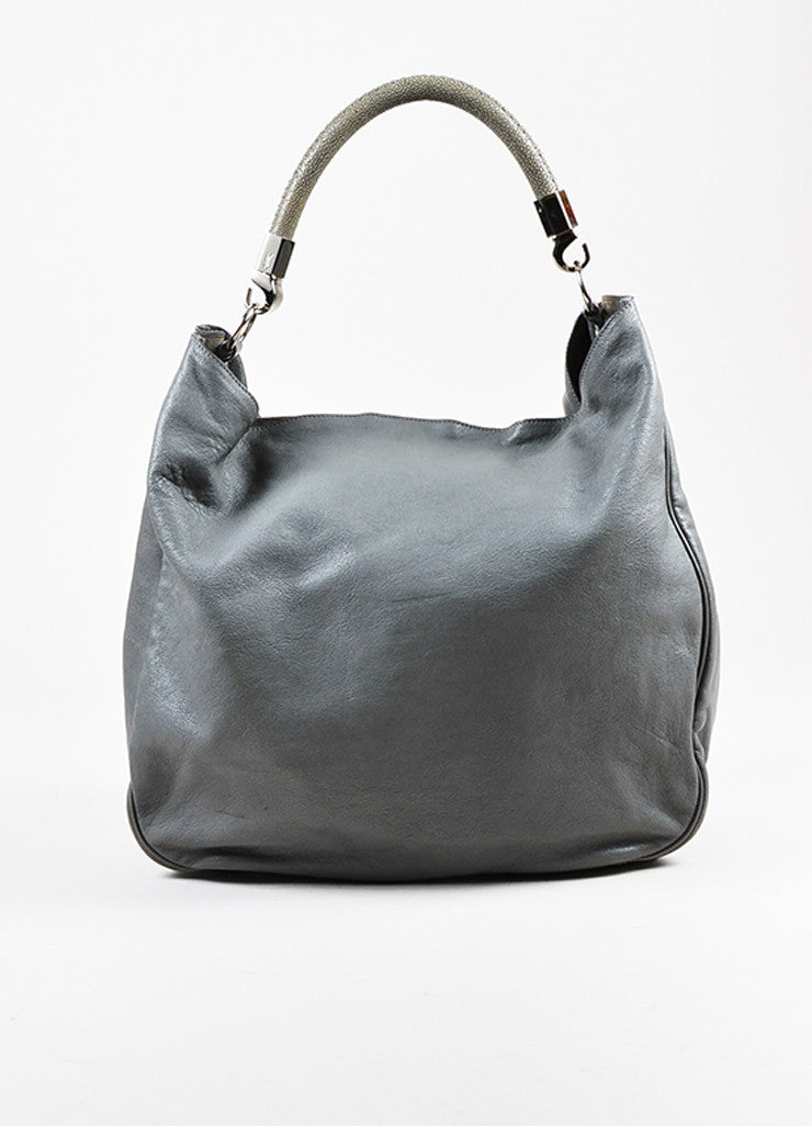 "Yves Saint Laurent Grey Leather Stingray Handle ""Roady"" Hobo Bag Frontview"