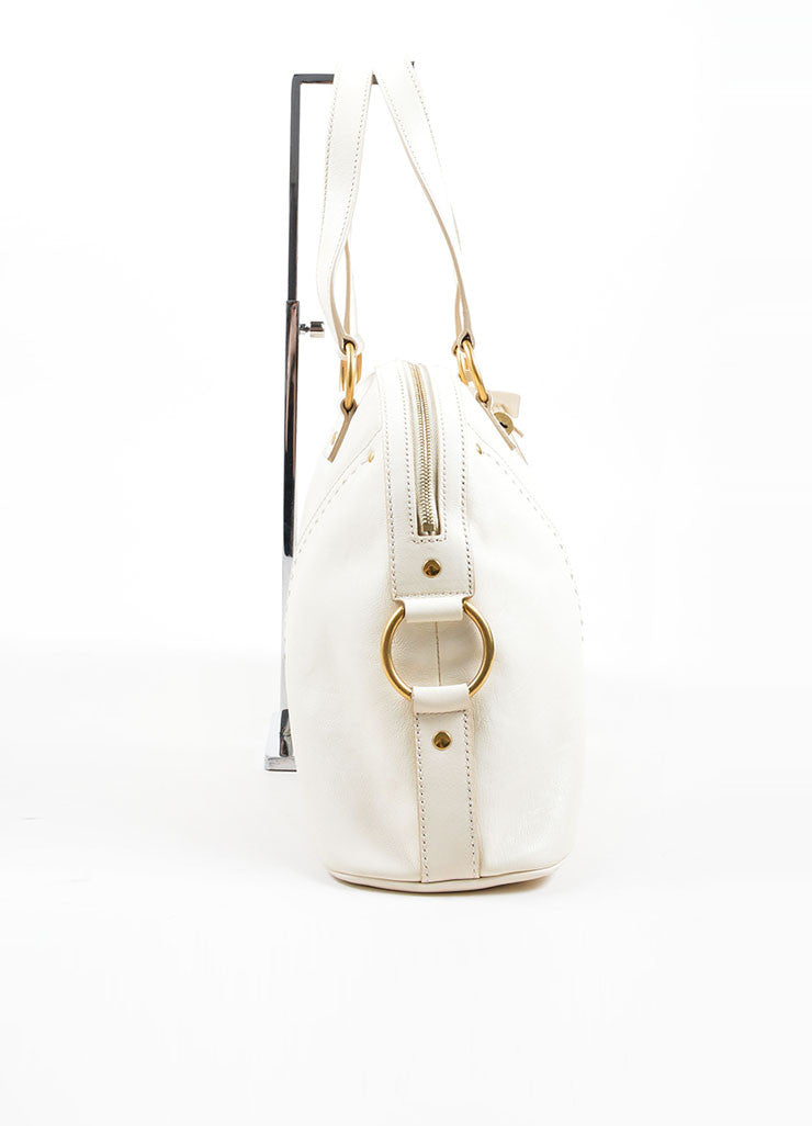"Yves Saint Laurent Cream ""Muse"" Shoulder Bag Side"