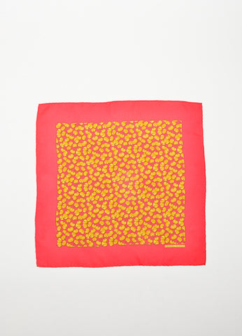 Hermes Red, Orange, and Brown Pumpkin Print Pocket Square Handkerchief Frontview