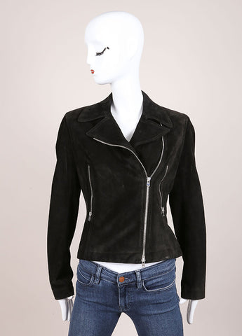 Alaia Black Suede Zip Moto Jacket Frontview