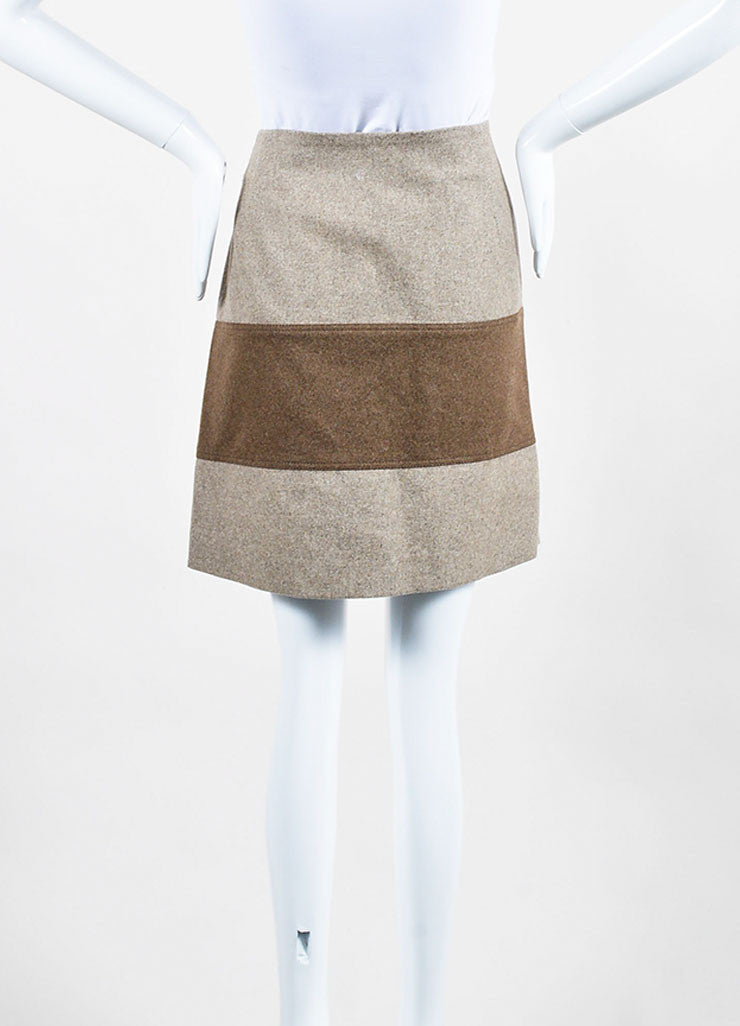 Beige and Brown Brunello Cucinelli Wool Striped Asymmetrical Zip Wrap Skirt Backview