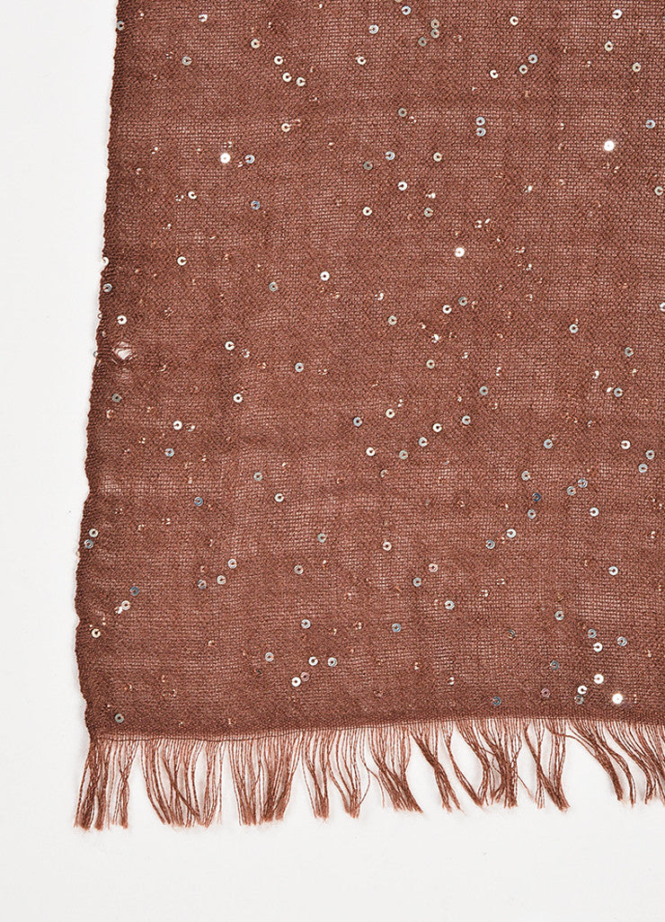 Brunello Cucinelli Brown and Gold Cashmere and Silk Blend Sequin Fringe Scarf Detail