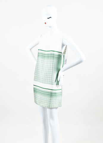 Celine Black, Green, and White Silk Blend Color Block Print Sleeveless Dress Sideview