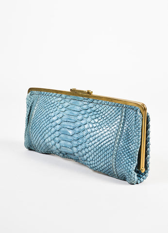 Chloe Blue Python Pushlock Clutch Bag Sideview