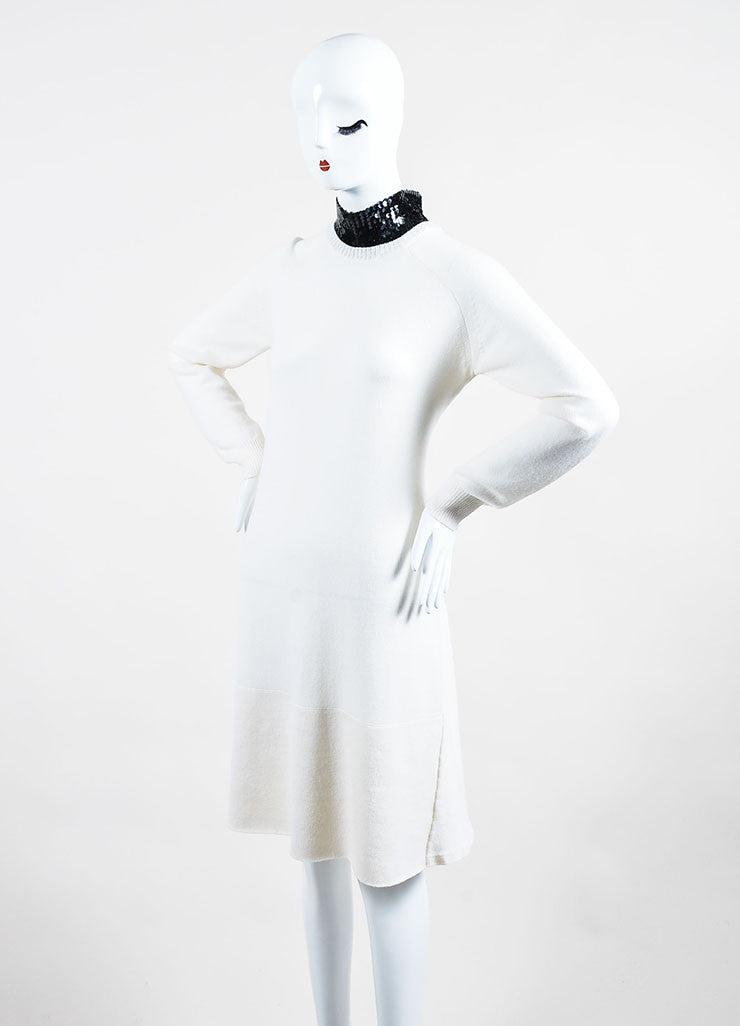 Cream and Black Christian Dior Cashmere Sequin Collar Sweater Dress Sideview