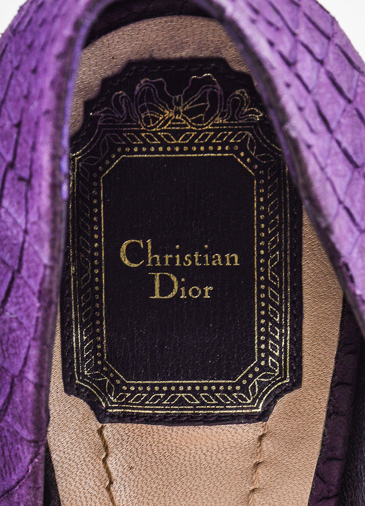 Christian Dior Purple Textured Reptile Suede Peep Toe Platform Pumps Brand