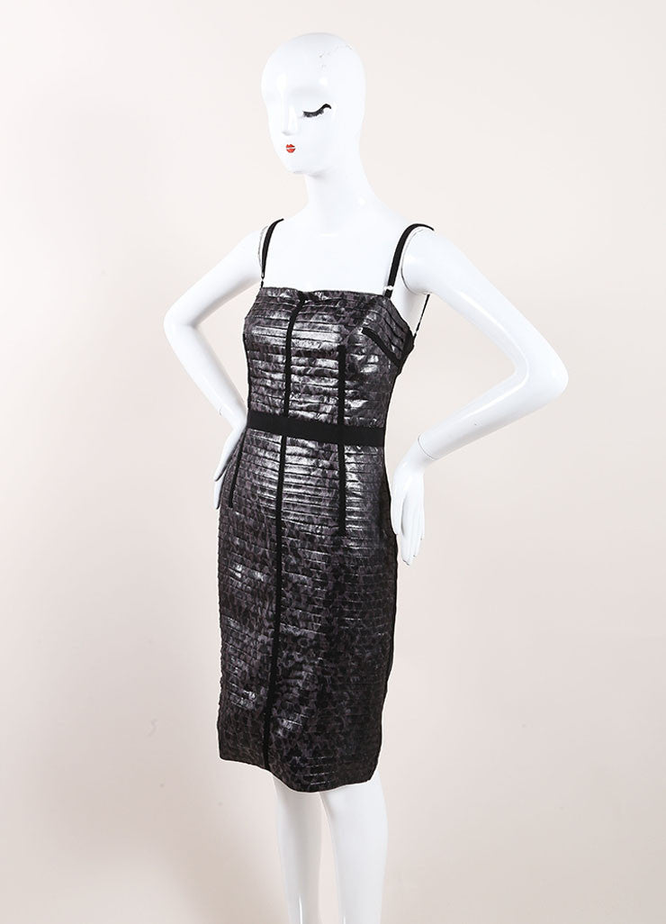 Dolce & Gabbana Grey Metallic Silk Tiered Bodycon Spaghetti Strap Dress Sideview