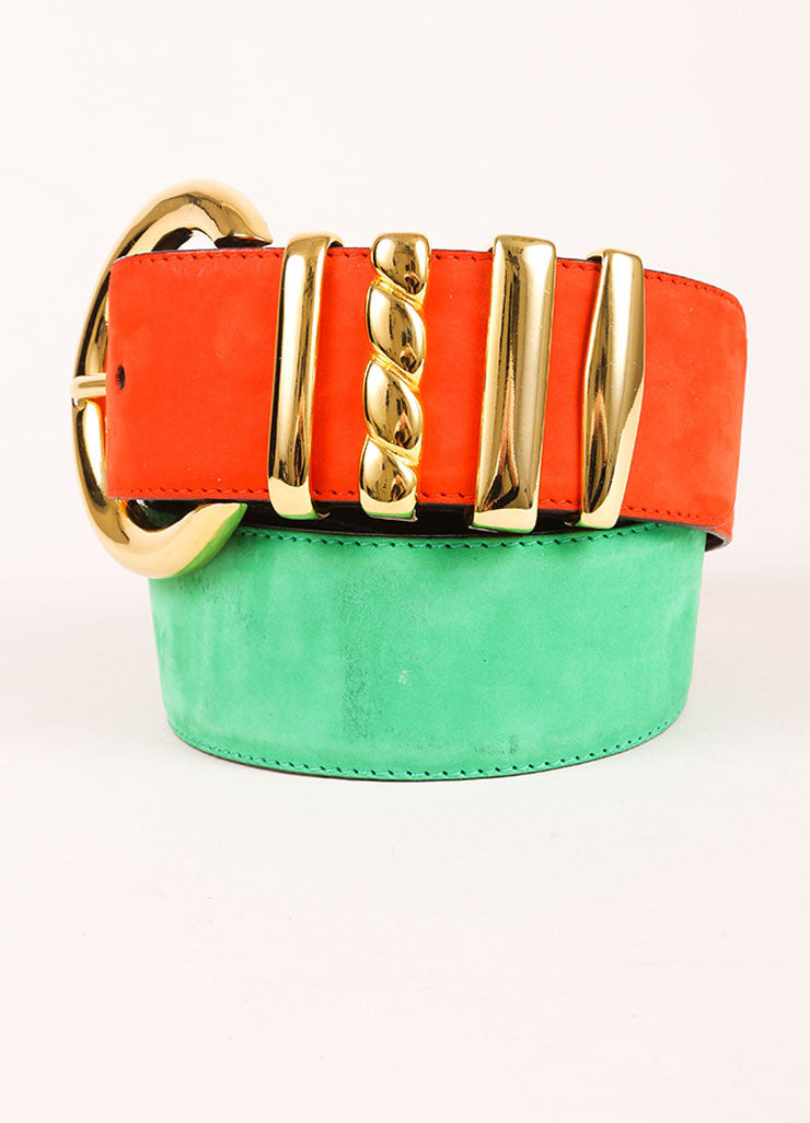 Escada Orange, Green, and Gold Toned Suede Oversized Buckle Belt Detail