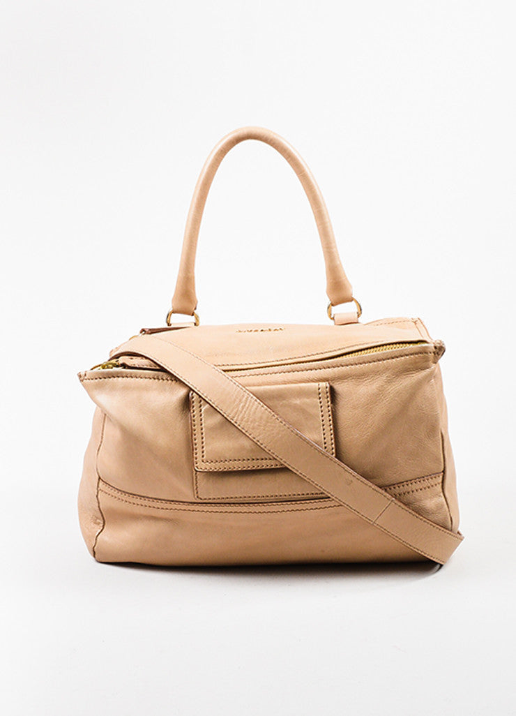 "Givenchy Beige Tan Leather ""Medium Pandora"" Slouchy Messenger Shoulder Bag Frontview"