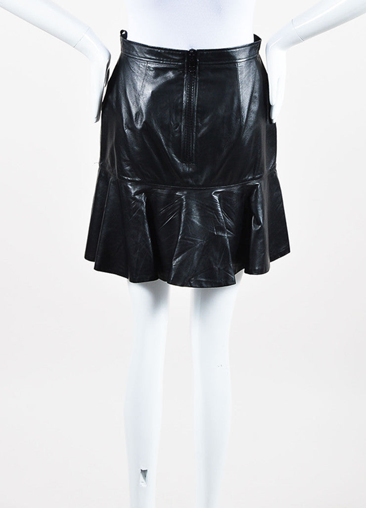 Givenchy Black Lambskin Leather Fit Flare Back Zip Mini Skirt Back