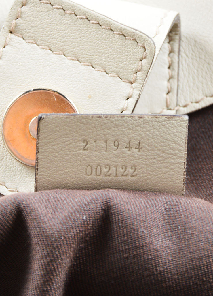 "Gucci Cream and Brown Canvas and Leather ""GG"" Monogram ""Guccissima"" Shoulder Bag Serial"