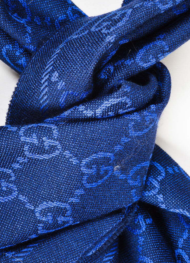 Royal Blue and Black Gucci Wool Monogram Fringe Trimmed Long Wrap Scarf Detail