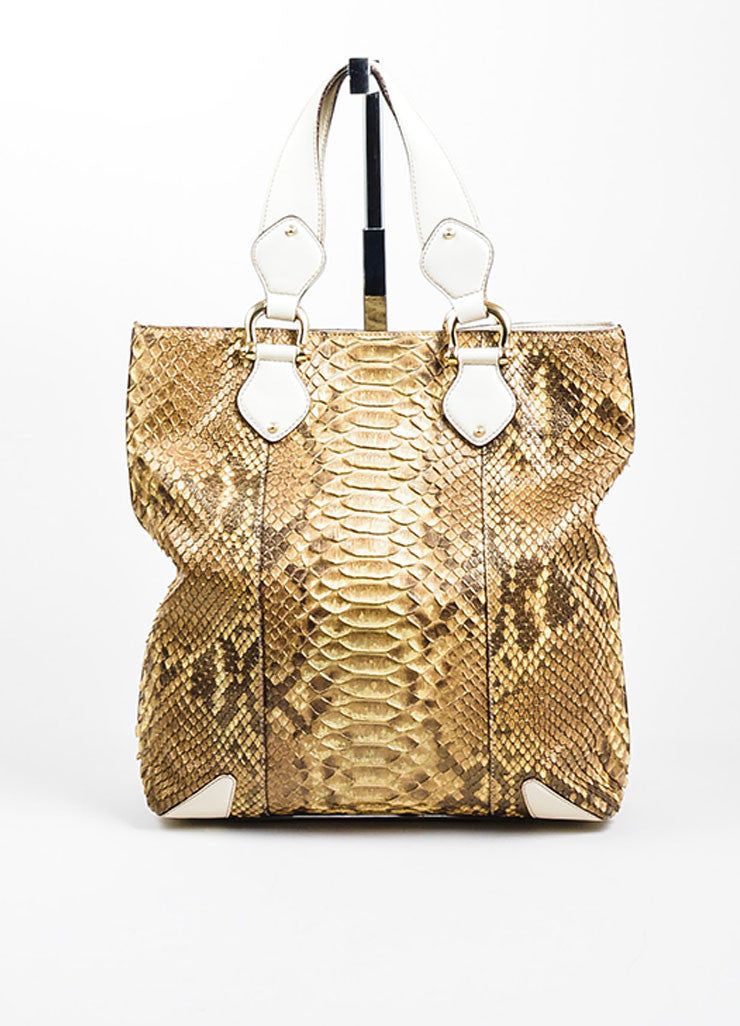 "Taupe Brown and Cream Gucci Python Leather ""Creole"" Tote Bag Frontview"