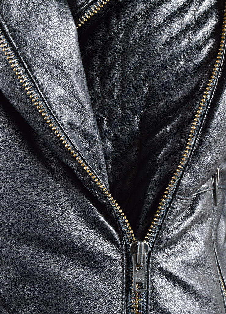 Helmut Lang Black Leather Down Zip Moto Short Puffer Coat Detail