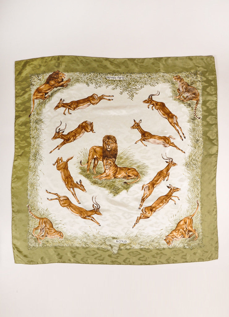 "Hermes Green and Brown Silk Lion and Antelope Print ""Kenya"" Scarf Frontview"