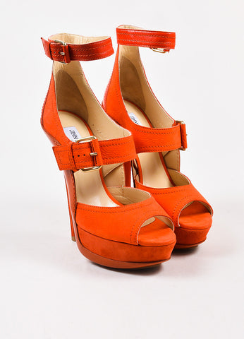 "Jimmy Choo Coral Red Mixed Leather Buckle ""Letitia"" Sandals Front"