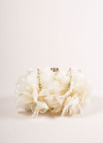 Judith Leiber Cream Floral Ruffle Chain Strap Clutch Bag Frontview