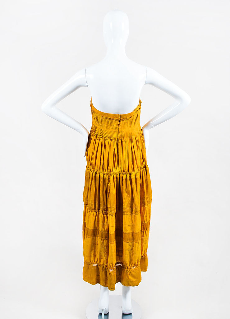 Mustard Yellow KaufmanFranco Cotton Leather Trim Tiered Strapless Dress Backview